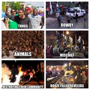One of these things is not like the other -- the difference between how the police, media, and society view African American protesters and white rioters.